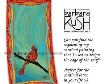 Cardinal Scarf, Red Cardinal Scarf, Bird Scarf, Colorful Cardinal Scarf, Cardinal Bird Scarf, Mom's Day Gift