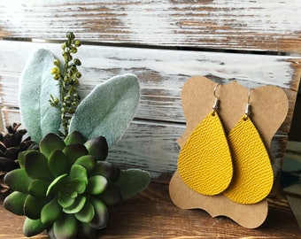 Leather Teardrop earrings - Mustard Saffiano