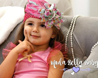 Pink and Blue Headband, Newborn Headband, Christening Headband, Girls Headband, Flower Girl Headband, Photo Prop