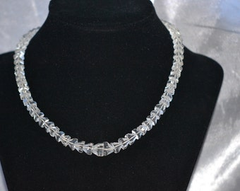 Vintage Faceted Rock Crystal Art Deco Era Choker Style Necklace