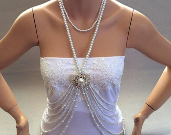 Bridal Pearl Necklace, Wedding Jewelry, Pearl Body Chain, Bridal Pearl Necklace, Pearl Body Chain Necklace, Bridal Jewelry, Bridal Necklace