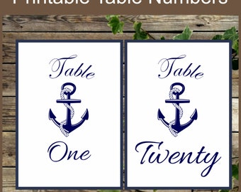 Printable Table Numbers, Nautical Table Numbers, Instant Download, Wedding Nautical Decoration, 20 Table Numbers Beach Wedding