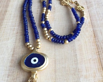 Evil Eye Necklace, Sapphire Blue, Beaded Long Gold Necklace, Gift For Her