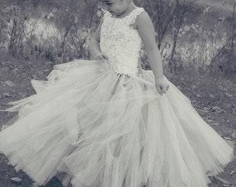 Chiffon Flower and Tulle Flower Girl Dress