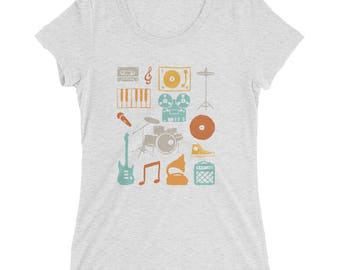 Retro Rock & Roll Music T-Shirt | DJ Vinyl Record Turntable Shirt | Rock and Roll Music Teacher Gift | Rock Band Shirts | Ladies Triblend