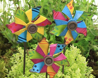 Wind Spinner, Windmill, Pinwheel, Brightly Coloured & Turns in the Wind, Fairy Garden Accessory, The Fairy Garden