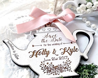 Save the date, Vintage wedding save the date , Shabby chic wedding, save the date magnet, Tea party wedding, Wooden save the date.