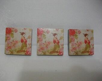 Refrigerator Magnets  -  Vintage Asian Toile Fabric Fridge Magnets  -  Fridge Magnet