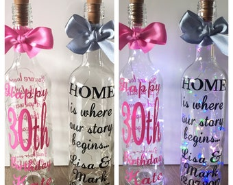 Personalised light up bottles