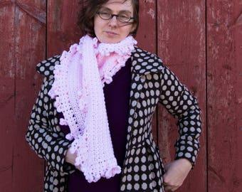 Ruffle scarf / pink scarf / frilly scarf / crochet scarf / handmade scarf / neckwarmer