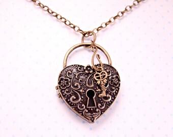 Unlock your Love Brass Heart Locket with Key on 18 Inch Brass Chain