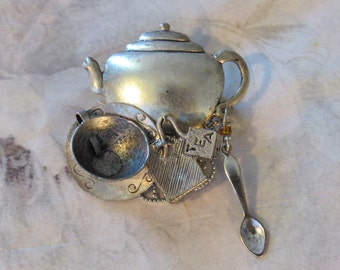 Tea Brooch 24 karat Gold Plate or Oxidized Matte Silver Pot Kettle Cup Spoon PG321 / PS259