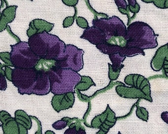Violet Purple Pansies? W/ Green Floral  FQ Vintage Feed Sack Flour Sack Feedsack Cotton Quilt Fabric