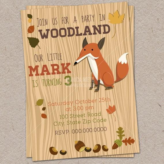 Printable Woodland Birthday Party Invitation Fox Invitation