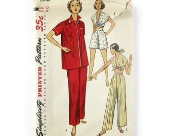 1950s Vintage Sewing Pattern - Misses' Two-Piece Pajamas - Shorties with Midriff Halter - Simplicity 4312 / Size 12