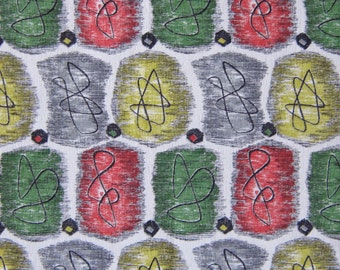 Vintage Barkcloth Fabric - 50s Eames Era Atomic AMAZING