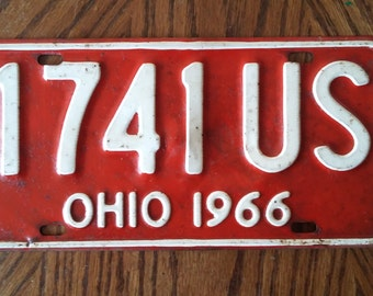 Vintage 1966 Ohio License Plate, 1966 license plate, vintage Ohio license plate, old Ohio license plate, antique Ohio license plate