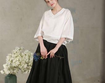 linen blouse in white (custom color), bishop sleeve linen tunic top, V neck blouse, oversized blouse, linen tunic, linen top, linen shirt