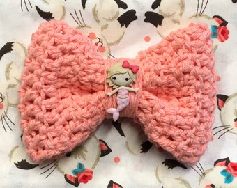 Coral Mermaid Crochet Bow