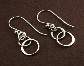 Sterling silver three ring drop earrings sterling silver earrings 3 circle linked circle hoop earrings intertwined rings entwined circles