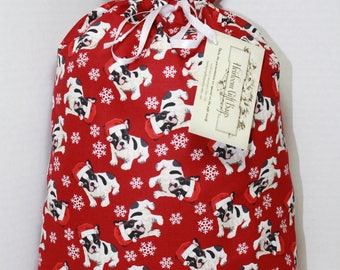 Cloth Gift Bags Fabric Gift Bags Reusable Eco Friendly Gift Sacks Dogs French Bulldogs Frenchies in Santa Hats
