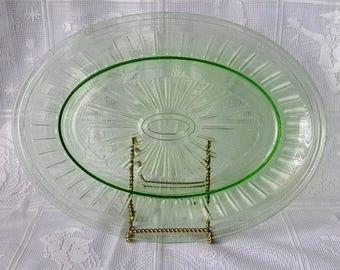 Hazel Atlas New Century Green Glass Oval Plate