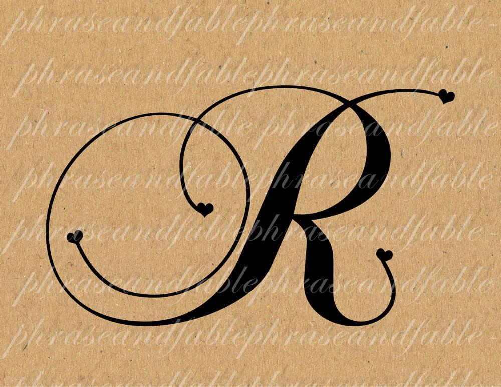 Letter R Hearts 288 Digital Download Alphabet Initial Name