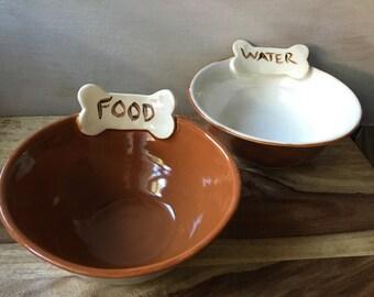 Dog Bowl Set, Ceramic Pet Bowls, Dog Food Bowl, Dog Water Bowl, Pottery Food and Water Pet Bowlss, Pet Lover's Gifts, Handmade Pottery
