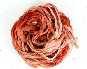 lobster   .. hand dyed silk ribbon yarn, recycled silk fabric ribbon, soft knitting, weaving, crochet supply