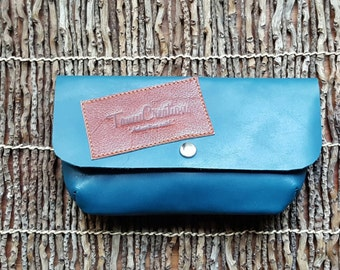RawEdges Leather Hand Clutch  / Leather Pouch / Leather Eyeglass Case / Leather Cosmetic Case / Leather Purse