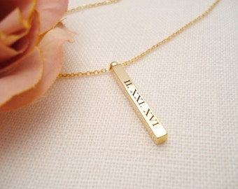 Personalized Vertical Gold, Rose gold, Silver bar necklace...Engraved 3D Bar, sorority, best friend gift, wedding, bridesmaid gift