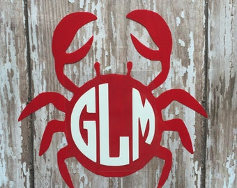 Crab Monogram Iron on Decal/ Glitter or non- glitter Iron on Decal/ Boys Summer Monogram Iron on/ DIY Crab Monogram Shirt/ DIY Beach Shirt