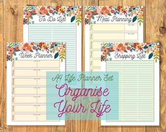 Printable Week Life Planners - 4 Page Set - A4 Planner - Floral Organisation Set - To Do, Shopping List, Meal Planning, PDF Digital Download