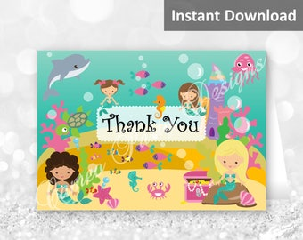 Mermaid Thank You Cards, Printable Thank You Cards, Mermaid Printable Party Decor, Under the Sea Thank You Cards, Mermaid Party Decor