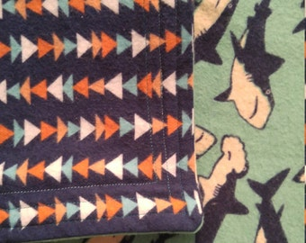 Hammerhead Sharks cotton flannel baby blanket/swaddle