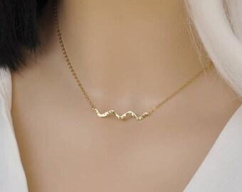 ON SALE Wave Necklace - Beach Necklace Gold Wave Necklace - Tiny Ocean Wave Necklace - Gold Necklace - Necklace - Wave Pendant
