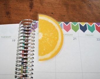 Orange Fruit Coil Clip In Laminated Bookmark Page Marker / Erin Condren, Limelife, Plum Paper Planner