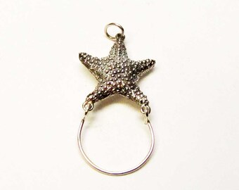 STARFISH Charm Holder, Starfish Necklace Pendant, Sterling Silver Charm Holder, Starfish Necklace, Starfish Jewelry, Brown County Silver