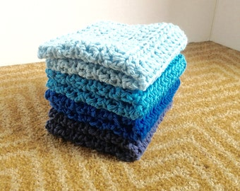 Crochet Dishcloth, 4 Cotton Wash Cloths, Blue Wash Cloths, Crocheted Dish Cloth, Crochet WashCloth, EcoFriendly Wash Cloth, EX LARGE , Blues