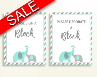 Sign A Block Baby Shower Decorate A Block Turquoise Baby Shower Sign A Block Baby Shower Elephant Decorate A Block Green Gray prints 5DMNH