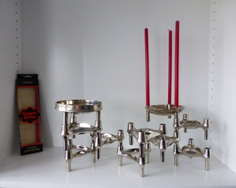 BMF Quist Nagel Insert System Set of 11 Pieces, 9 Candlesticks and 2 Scales West Germany 1970