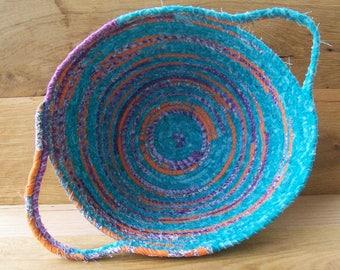 Handmade Coil basket,  round clothesline basket storage basket egg basket coiled fabric basket, handle basket  teal orange purple  . INVB1