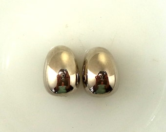Signed Givenchy Paris New York 1976 Shiny Silver Earrings Clip On