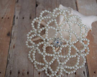 White Beaded Kippah - Bat Mitzvah Kippah - Wedding Kippah - Temple Head Covering.