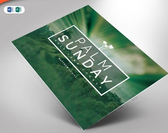 Palm Sunday Church Flyer Publisher and Word Template 6x4