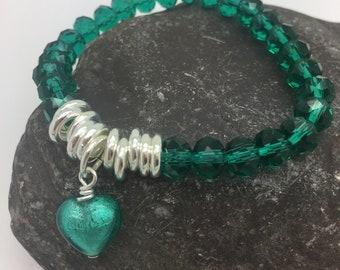 Green Murano Glass Heart Links Crystal Bracelet