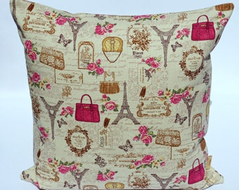 18x18 pillow cover, Throw Pillow Cover, Decorative throw pillow, shabby chic, Eiffel tower pillow case, sham, taupe, pink, handmade, 18 inch