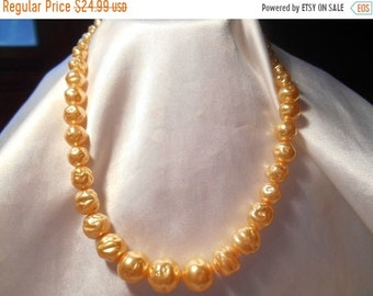 ON SALE 25% OFF Baroque Style Glass Pearl Vintage Glamour Choker Necklace With Sterling Silver Clasp