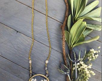 Canoe Creek Necklace ~ Raw Clear Quartz Spikes Sticks Circle Brass Gold Chain Long Boho Pendant Gift Made in Philadelphia