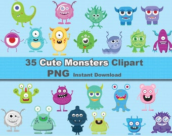 35x Monsters clipart png - printable Digital Clipart Graphic Instant Download